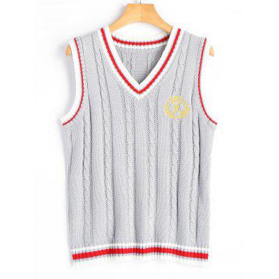 Buy LIGHT GRAY V Neck Cable Knit Patchwork Sweater Vest for $20.99 in GearBest store