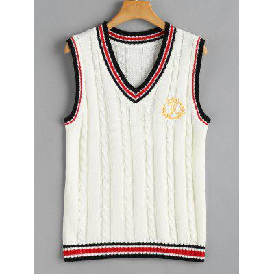 Buy OFF-WHITE V Neck Cable Knit Patchwork Sweater Vest for $20.99 in GearBest store