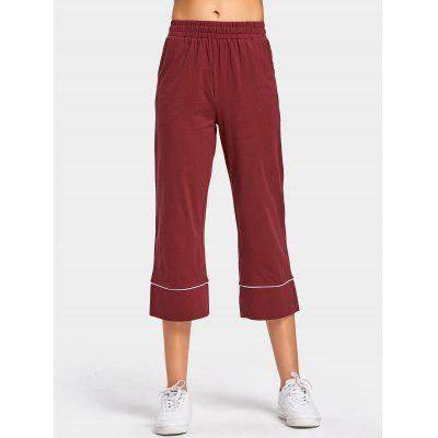 Buy DARK RED High Rise Wide Leg Cropped Pants for $25.21 in GearBest store