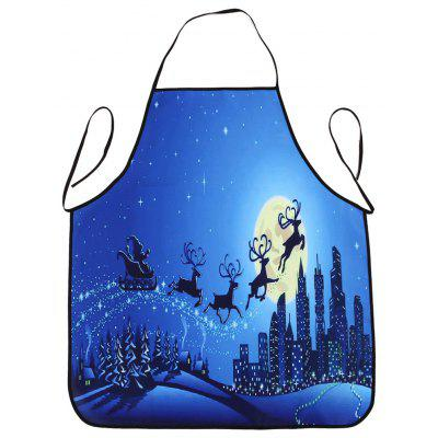Christmas Moon City Print Waterproof Kitchen Apron