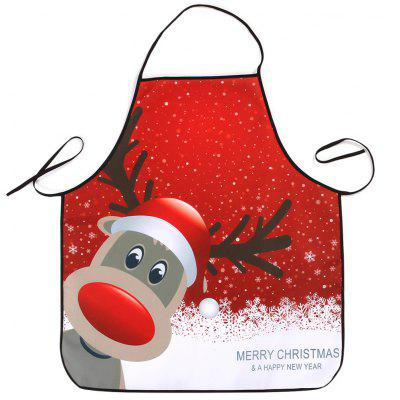 Buy RED Christmas Deer Print Waterproof Kitchen Apron for $6.69 in GearBest store