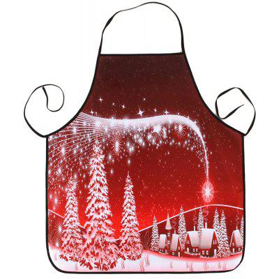 Buy RED Christmas Snowscape Print Waterproof Kitchen Apron for $6.69 in GearBest store