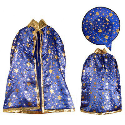 Buy BLUE Halloween Party Cosplay Costume Witch Wizard Stars Cloak and Hat for Children for $7.96 in GearBest store