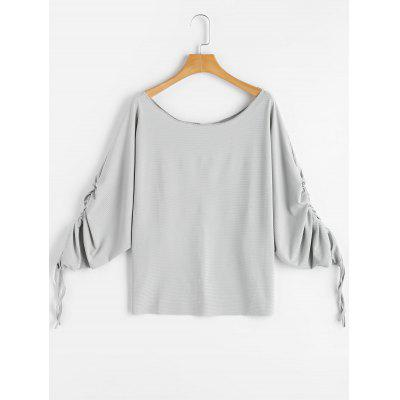 Buy LIGHT GRAY L Scoop Neck Dolman Sleeve Ruched Blouse for $20.48 in GearBest store