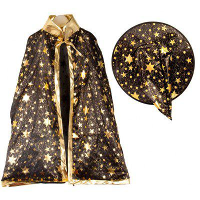 Buy BLACK Halloween Party Cosplay Costume Witch Wizard Stars Cloak and Hat for Children for $7.96 in GearBest store
