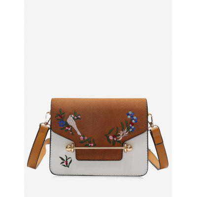 Buy BROWN Embroidery Birds Flower Crossbody Bag for $24.63 in GearBest store