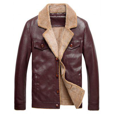Buy WINE RED L Turndown Collar Single Breasted PU Leather Fleece Jacket for $73.01 in GearBest store