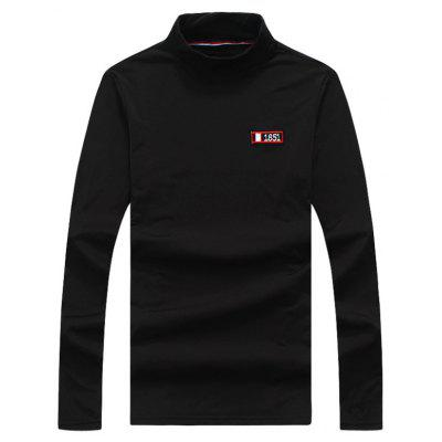 Buy BLACK 2XL Turtle Neck Stretchy Applique Long Sleeve T-shirt for $20.92 in GearBest store