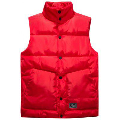 Buy RED L Graphic Print Snap Button Up Quilted Vest for $42.83 in GearBest store
