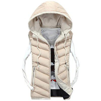 Zip Up Detachable Hood Quilted Vest