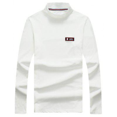 Buy WHITE 2XL Turtle Neck Stretchy Applique Long Sleeve T-shirt for $20.92 in GearBest store