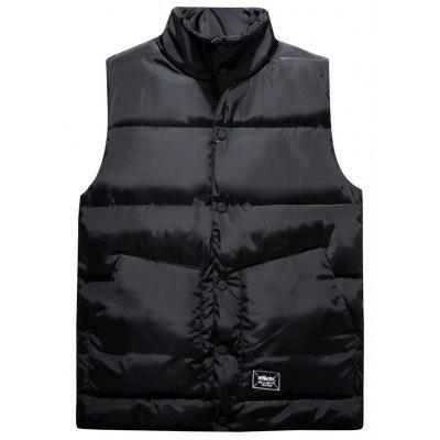 Buy BLACK L Graphic Print Snap Button Up Quilted Vest for $42.83 in GearBest store