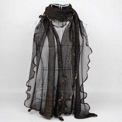 Vintage Golden Brim Chiffon Long Scarf