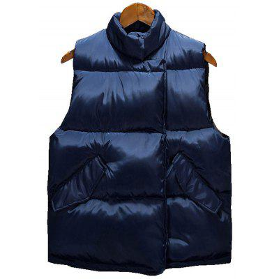 Buy CADETBLUE L Side Snap Button Up Quilted Vest for $35.67 in GearBest store