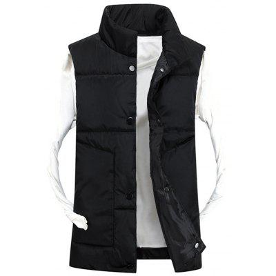 Funnel Collar Snap Button Quilted Vest