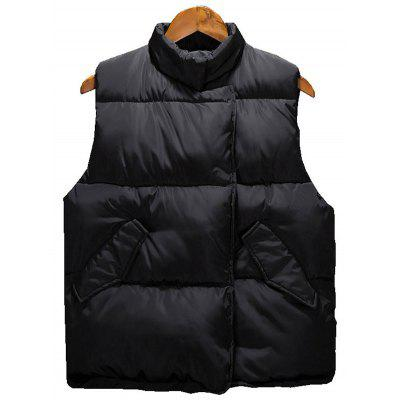 Buy BLACK M Side Snap Button Up Quilted Vest for $35.67 in GearBest store