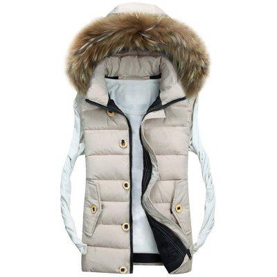 Detachable Hood Zip Up Padded Vest