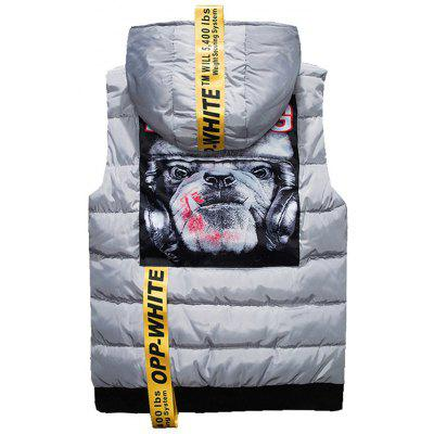 Dog Print Zip Up Quilted VestWaistcoats<br>Dog Print Zip Up Quilted Vest<br><br>Closure Type: Zipper<br>Collar: Hooded<br>Material: Polyester<br>Package Contents: 1 x Vest<br>Shirt Length: Regular<br>Style: Casual<br>Thickness: Thick<br>Weight: 0.7100kg