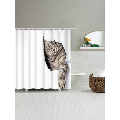 Cat Print Waterproof Shower CurtainShower Curtain<br>Cat Print Waterproof Shower Curtain<br><br>Materials: Polyester<br>Number of Hook Holes: W59 inch*L71 inch: 10; W71 inch*L71 inch: 12<br>Package Contents: 1 x Shower Curtain 1 x Hooks (Set)<br>Pattern: Animal<br>Products Type: Shower Curtains<br>Style: Cute