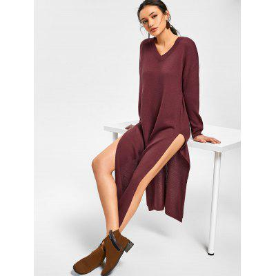 Buy DARK RED V Neck Side Slit Sweater Dress for $35.80 in GearBest store
