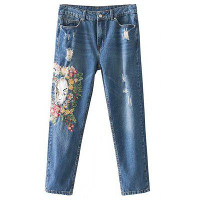 Buy DENIM BLUE L Destroyed Patches Floral Embroidered Tapered Jeans for $34.78 in GearBest store