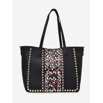 Buy BLACK Studs Geometric 3 Pieces Tote Bag Set for $29.75 in GearBest store