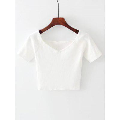 Buy WHITE Off Shoulder Cropped Knitted Top for $19.42 in GearBest store