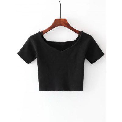 Buy BLACK Off Shoulder Cropped Knitted Top for $19.42 in GearBest store
