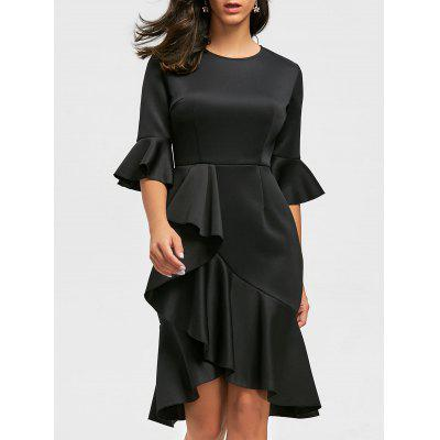 Ruffles Flare Long Sleeve Sheath Dress