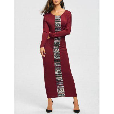 Buy CLARET M Tribal Print Long Sleeve Maxi Tee Dress for $19.51 in GearBest store