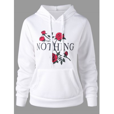 Buy WHITE M Nothing and Rose Print Drawstring Hoodie for $17.84 in GearBest store