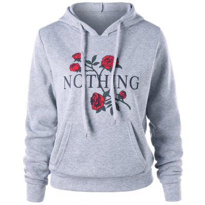 Buy GRAY M Nothing and Rose Print Drawstring Hoodie for $17.84 in GearBest store
