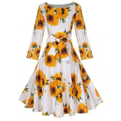 Buy YELLOW L Vintage Sunflower Print Pin Up Skater Dress for $25.58 in GearBest store