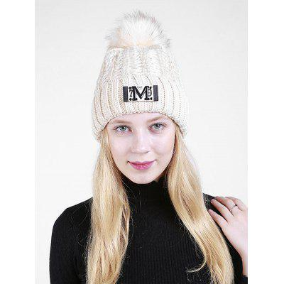 Letter M Embellished Thicken Knit Pom Beanie