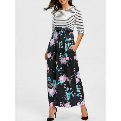 Striped and Floral Print Maxi Dress