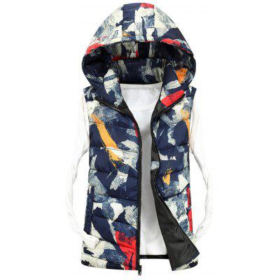 Zip Up Hooded Camo Quilted Vest
