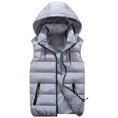 Zip Pocket Detachable Hood Quilted Vest