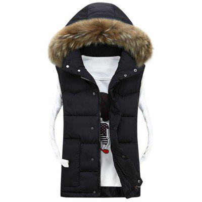 Detachable Faux Fur Hood Quilted Vest