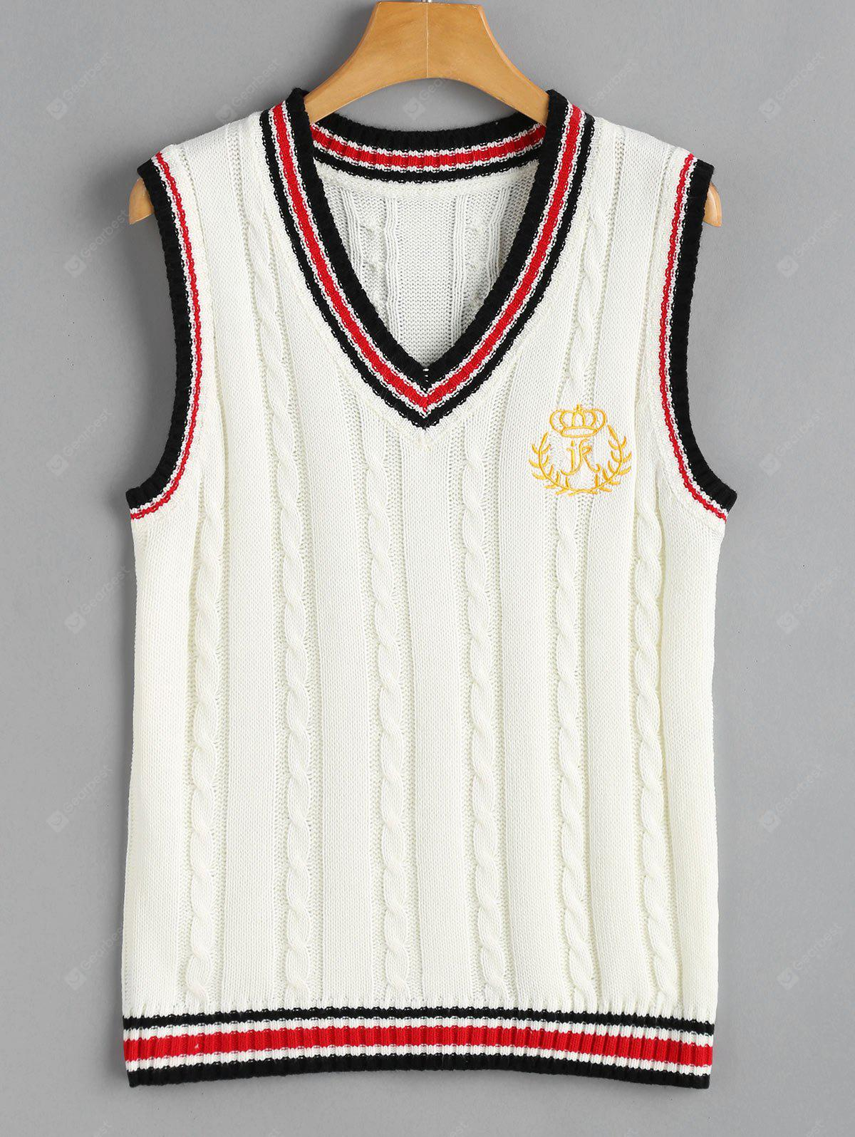 OFF-WHITE V Neck Cable Knit Patchwork Sweater Vest