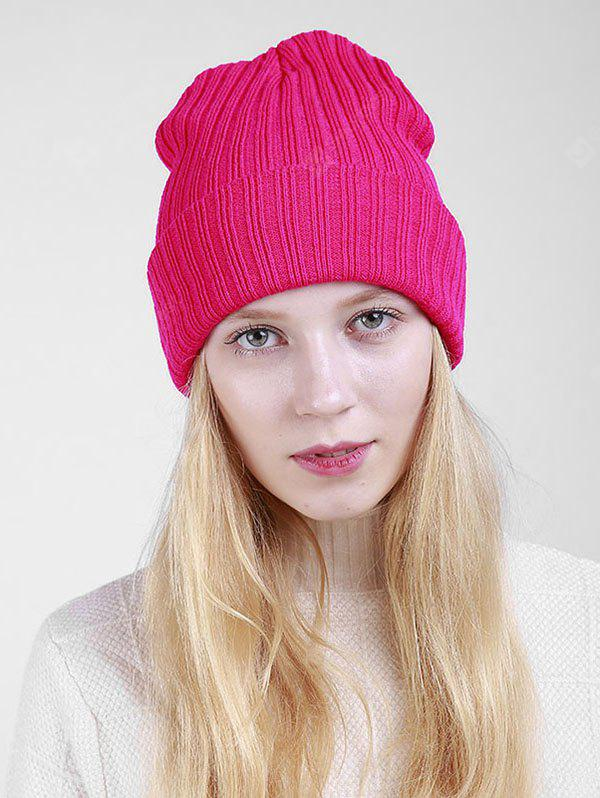 Flanging Design Plain Ribbed Knit Beanie