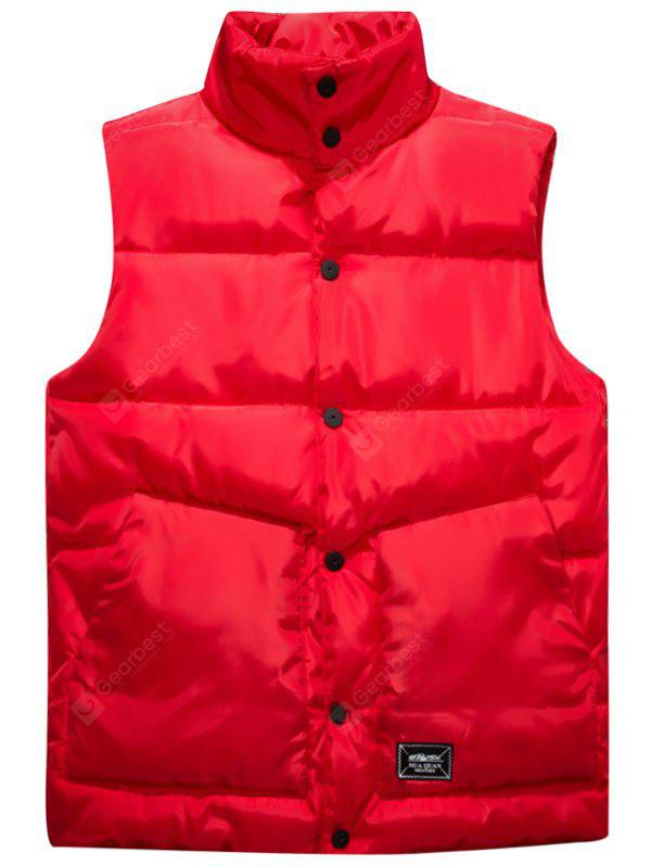 RED 2XL Graphic Print Snap Button Up Quilted Vest