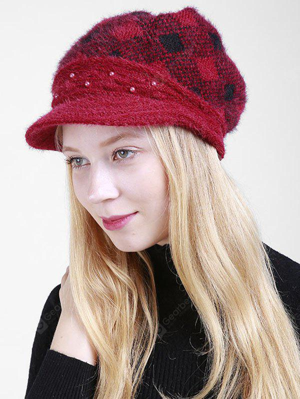 Beaded Decorated Rhombus Plaid Newsboy Hat