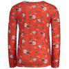Crew Neck Long Sleeve Christmas T-shirt - RED