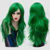 Long Layered Side Bang Slightly Curly Synthetic Party Wig - GREEN