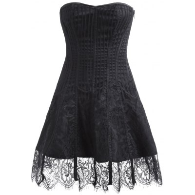 Buy BLACK S Tie Up Zipper Gothic Lace Corset Dress for $34.76 in GearBest store