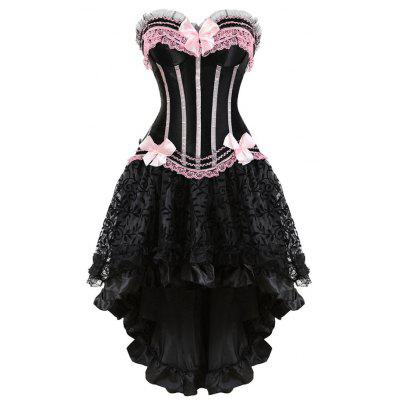 Buy PINK XL Two Piece Asymmetric Flounce Corset Dress for $35.42 in GearBest store
