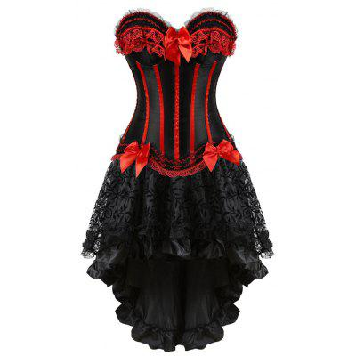 Buy RED 2XL Two Piece Asymmetric Flounce Corset Dress for $35.42 in GearBest store