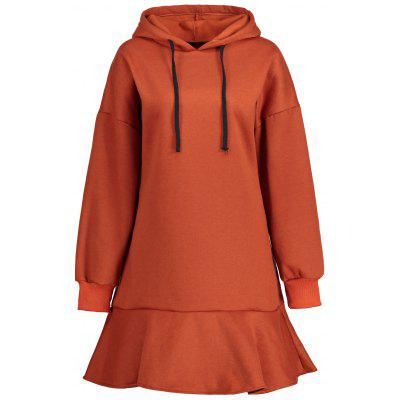 Plus Size Fleece Lined Drop Waist Hooded Dress