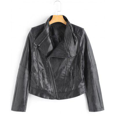 Side Zip Faux Leather Motorcycle Jacket