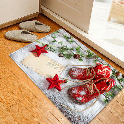 Christmas Snowfield Shoes Pattern Water Absorption Area Rug